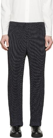 Homme Plisse Issey Miyake , Navy Pleated And Printed Trousers