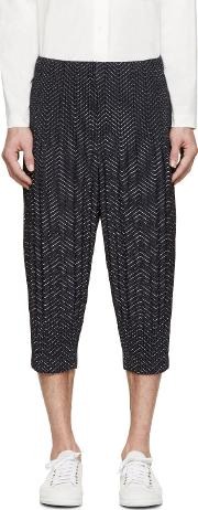 Homme Plisse Issey Miyake , Navy Pleated Printed Cropped Trousers