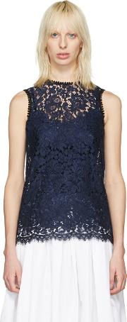 Dolce And Gabbana , Navy Lace Tank Top