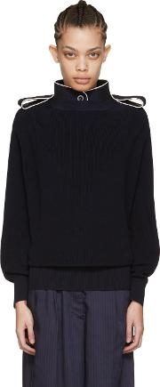 Sacai , Navy Laced Pullover