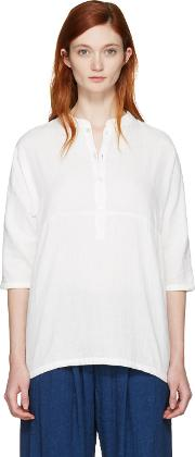 Blue Blue Japan , White Stand Collar Blouse