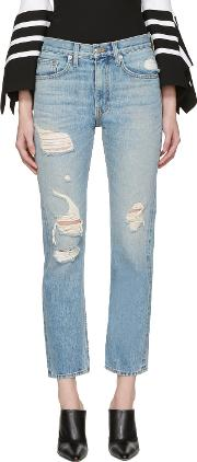 Brock Collection , Blue Distressed Wright Jeans