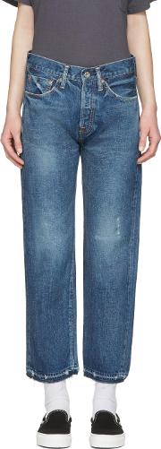 Chimala , Blue Selvedge Used Ankle Cut Jeans