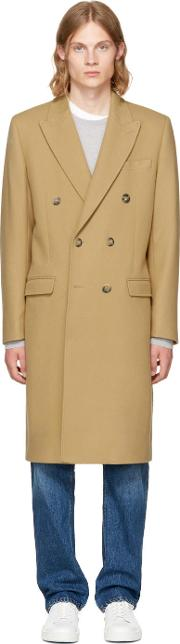 Editions Mr , Editions M.r Tan Double Breasted Wool Overcoat