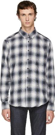 Naked And Famous Denim , Grey Ombre Flannel Shirt