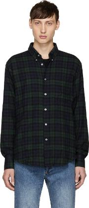 Naked And Famous Denim , Navy And Green Tartan Check Shirt
