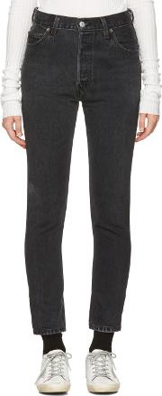 Redone , Re Done Black High Rise Ankle Crop Jeans