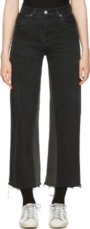 Redone , Re Done Black High Rise Wide Leg Crop Jeans
