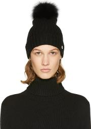 Yves Salomon , Black Fur Pom Pom Beanie
