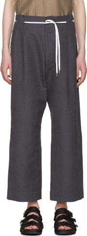 Sasquatchfabrix , Brown And Navy Striped 50s Trousers