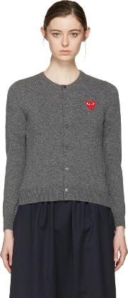 Comme Des Garcons Play , Grey Wool Heart Patch Cardigan