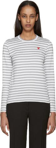 Comme Des Garcons Play , White And Grey Striped Heart Patch T Shirt