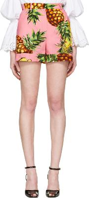 Dolce And Gabbana , Pink Pineapple Shorts