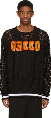 Pyer Moss , Ssense Exclusive Black Lace Greed Pullover