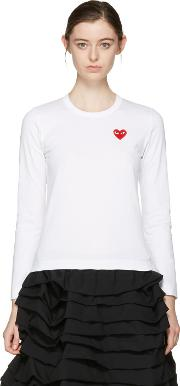 Comme Des Garcons Play , White Heart Patch T Shirt