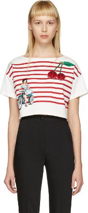 Dolce And Gabbana , Off White Cropped Badges T Shirt