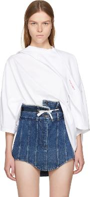 Yproject , Y Project White Fold Over T Shirt