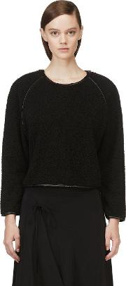 Avelon , Black Leather Trim Fleece Textured Sweater