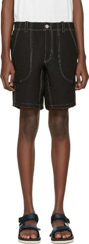 And Wander , Black Contrast Stitch Shorts