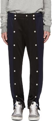 99 Is , Navy And Black Snap Lounge Pants