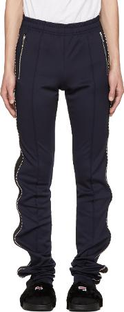 99 Is , Navy And Black Super Long Zip Track Pants