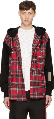 99 Is , Red And Black Check Hoodie