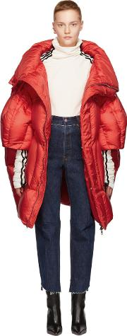 Chen Peng , Red Long Quilted Puffer Jacket