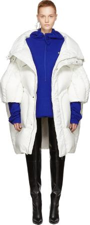 Chen Peng , White Long Quilted Puffer Jacket