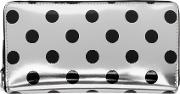 Comme Des Garcons Wallets , Silver And Black Polka Dot Continental Zip Wallet