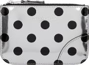 Comme Des Garcons Wallets , Silver And Black Polka Dot Small Zip Pouch