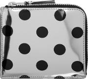Comme Des Garcons Wallets , Silver And Black Polka Dot Small Zip Wallet