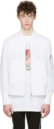 D By D , White Mesh Bomber Jacket