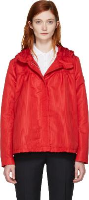 Moncler Gamme Rouge , Red Hooded Faille Jacket