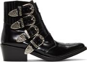 Toga Pulla , Black Four Buckle Western Boots