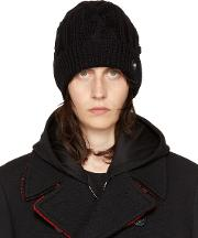 Versace , Black Cable Knit Beanie