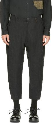 Ziggy Chen , Black Cropped Wide Trousers