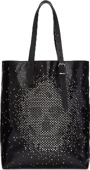 Alexander Mcqueen , Black Leather Studded Skull Tote