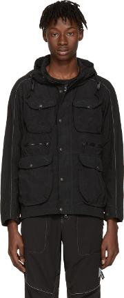 And Wander , Black Garment Dyed Jacket