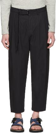 Attachment , Navy Cotton Belted Trousers