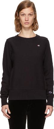 Champion Reverse Weave , Black Small Logo Sweatshirt