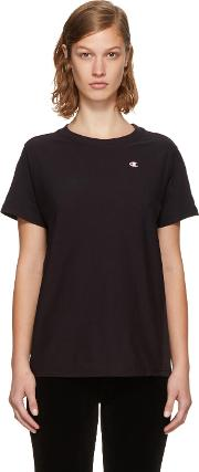 Champion Reverse Weave , Black Small Logo T Shirt