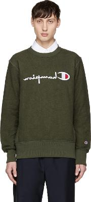 Champion Reverse Weave , Green Reversed Logo Sweatshirt