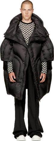 Chen Peng , Black Long Quilted Puffer Jacket