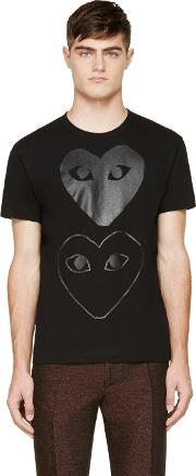 Comme Des Garcons Play , Black Two Hearts T Shirt