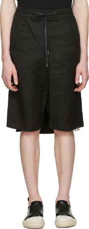 Dgnak By Kangd , D.gnak By Kang.d Black Crinkled Back Panel Shorts