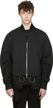 Dgnak By Kangd , D.gnak By Kang.d Black Shirring Sleeves Bomber Jacket