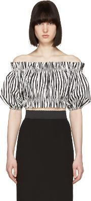 Dolce And Gabbana , Black And White Ruffled Off The Shoulder Blouse