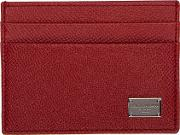 Dolce And Gabbana , Red Classic Logo Card Holder