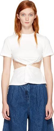 Edit , White Front Knot T Shirt
