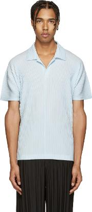 Homme Plisse Issey Miyake , Blue Pleated Polo